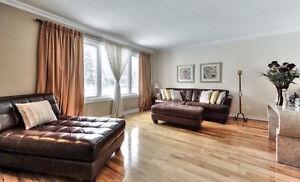 Ensemble salon sofa chaise ottoman cuir - leather livingroom set