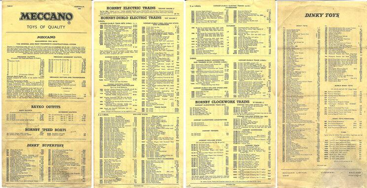 ++ MECCANO HORNBY TRAINS WAR ERA 1940S DINKY TOYS AUSTRALIAN CATALOG ON CD-ROM