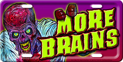 More Brains Zombie License Plate Car Tag NEW! Sacchetto Walking Dawn Day of dead