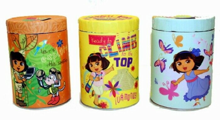 Dora the Explorer Set of 3 Large Round Illustrated Tin Coin Banks, NEW UNUSED