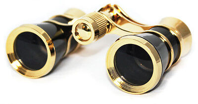 Theater Opera Glasses 3X25 Optics Black / Gold with Chain