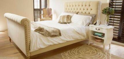 NEW French Provincial King Chesterfield Sleigh Bed Beige / Cream Melbourne CBD Melbourne City Preview