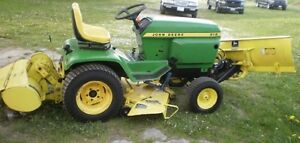 JD 312 with  blade, mower and roto tiller