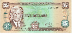 Billet hors circulation de  5  FIVE  DOLLARS  de JAMAICA, 1985.