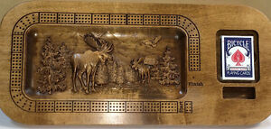 Wood Carved Moose Scene Custom Cribbage Board w/card holder Strathcona County Edmonton Area image 2