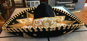 Authentic Mexico Hard Brim Pigalle SOMBRERO Black Velvet W/Gold Kitchener / Waterloo Kitchener Area image 5