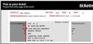 Shania Twain concert tickets, June 25, 2018, Reduced to sell