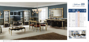 Spanish Furniture Living/Dining Room Set in Aged Gold and Black