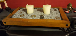 Wood/sand candle centerpiece