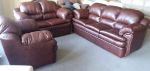 CLEARING OUT ALL BRAND NEW CANADIAN MADE LEATHER SETS-WE DELIVER
