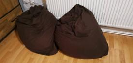 2x brown bean bags