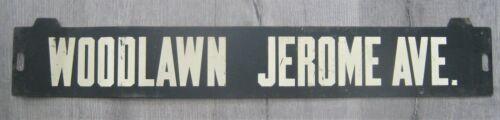 Vintage New York Subway Train Low-V Metal Destination Sign Woodlawn Jerome Bronx