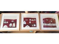 Set of 3 square pine framed pictures