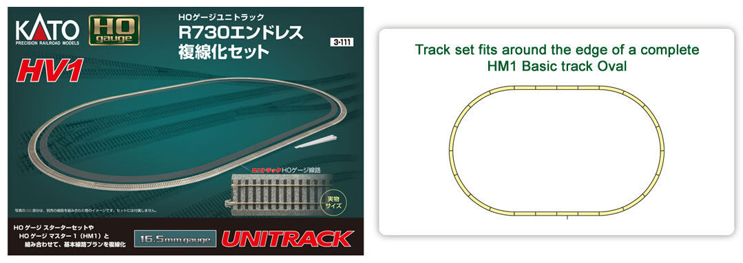 Kato 3-111 Ho Scale, Hv1 R730mm Outer Track Oval, Kato 3111