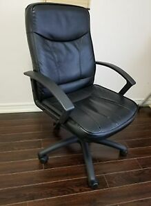 Leather Office Chair - Adjustable height w/ wheels and backlean