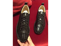 Christian Louboutin Leather Black Junior Spikes Loubs