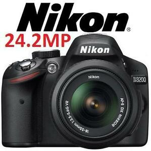 USED NIKON D3200 DSLR CAMERA KIT Black D3200 Digital SLR Camera with 24.2 Megapixels Includes 18-55mm VR LENS 100583816