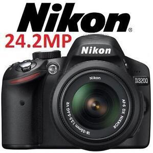 USED NIKON D3200 DSLR CAMERA KIT Black D3200 Digital SLR Camera with 24.2 Megapixels Includes 18-55mm VR LENS 100583816