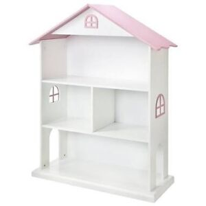 Dollhouse Kids Bookcase White Doll House Book Case Shelf
