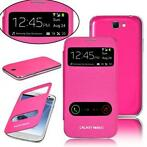 Samsung Galaxy Note 2 N7100 S-View Flip Cover Roze Gratis VZ