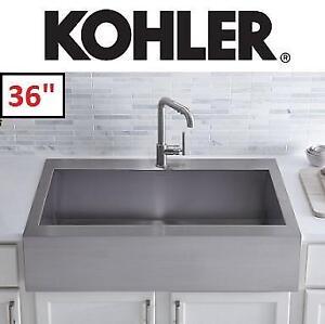 "NEW* KOHLER TOP MOUNT KITCHEN SINK - 129032103 - APRON FRONT STAINLESS STEEL SINGLE BOWL 36"""