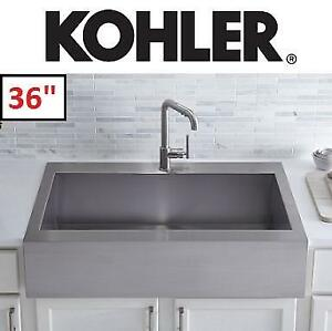 NEW* KOHLER TOP MOUNT KITCHEN SINK - 129032103 - APRON FRONT STAINLESS STEEL SINGLE BOWL 36""