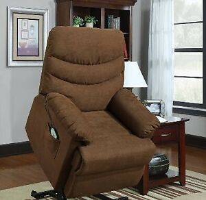Stafford Power lift reclining chair, IN STOCK, warm brown fabric