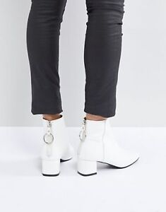 White Mid Heeled Ankle Boots, new