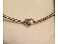 Genuine Pandora chain necklace with heart charm