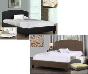 NEW!! SAVE $260!!!  Twin, Double or Queen Platform beds in a Black or White leatherette finish or in a Brown and grey ma