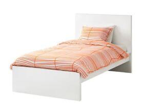 White Ikea single bed (MALM) and mattress