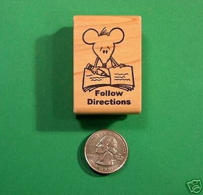 'Follow Directions' Mouse, Teachers'  Stamp, Wood Mounted