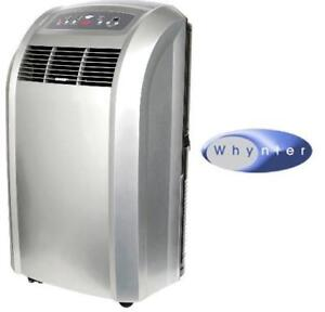 NEW WHYNTER PORTABLE AIR CONDTIONER - 127225290 - 12000 BTU - PLATINUM FINISH - REMOTE - COOLING, FAN AND DEHUMIDIFIER
