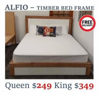 NEW TIMBER/LEATHER BEDS From $249 ONLY | ALL SIZES/FREE DELIVERY