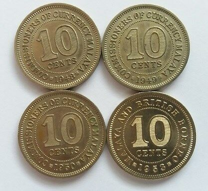 Malaya Commissioners of Currency 10 Cent Coins Year 1948, 1949, 1950 & 1953 - VERY FINE & NICE COINS