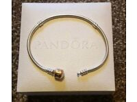 Pandora Moments Silver Bracelet with two-tone clasp. Bought for £275.