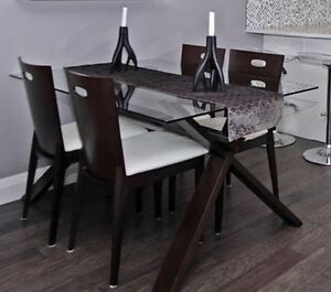 * Modern Glass Table with 4 Chair Set (from Revolve) *Must Sell!