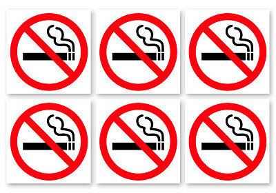 6 Pack Of No Smoking Sign Vinyl Decal Sticker 4 Inch White - Door Window Wall