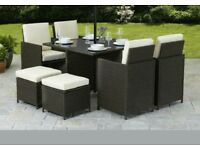A brand new 2 tone brown cube 9 piece garden rattan furniture set .