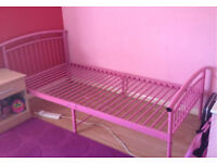 Single Pink Bed.
