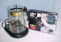 Retro Pyrex 8 Cup Coffee Carafe Pot Gold Trim~Electric Warmer