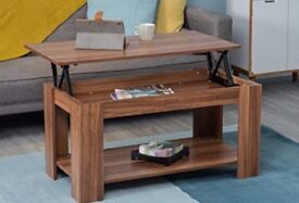 Wooden coffee table with open top storage