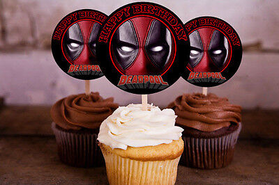 12 Birthday Deadpool Inspired Party Picks, Cupcake Toppers #1 - Deadpool Party Supplies