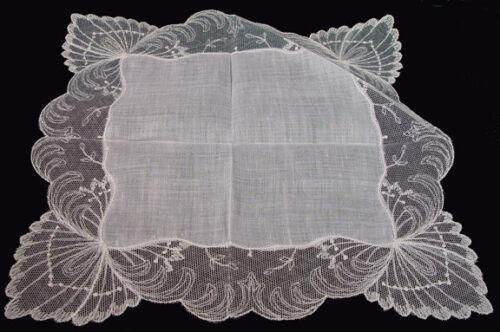 VTG Antique Off White Linen Needle Lace? EXQUISITE  Wedding Hankie PRISTINE