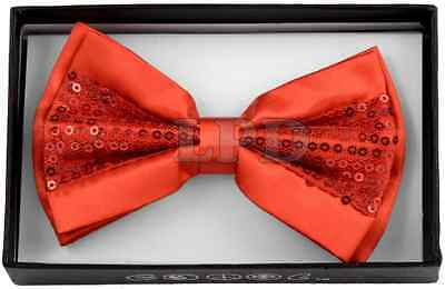 Red Bow Tie Sequin Detail Classic Fashionable Red Glitter Tuxedo Bowtie