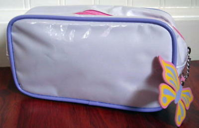 New Clinique Butterfly zip pull Glossy Laminate White w/ Lilac Trim Cosmetic Bag - Butterfly Makeup