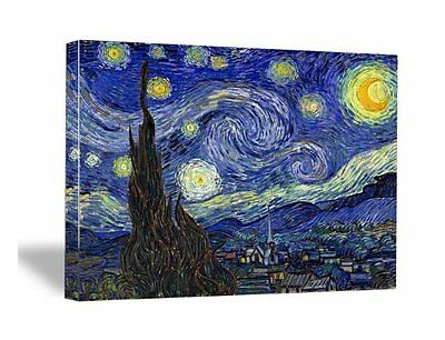 Framed Starry Night by Van Gogh Fine Art Print Reproduction on Canvas Poster Dec
