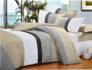 Todd Linen Stone Pattern 3 Pcs Queen Set 1 Duvet Cover + 2 Pillow Case Bedding Set