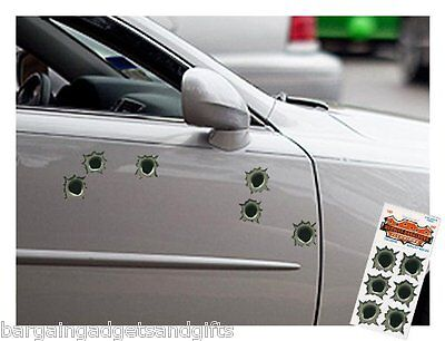 6 FAKE BULLET HOLE CAR STICKERS FUNNY JOKE BOYS MENS PRANK GIFT
