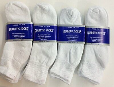 Mens White Diabetic Ankle Socks w/ Loose Fit Top Easily Slips On Durable Quality